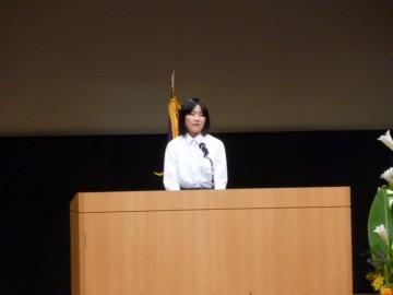発表する 廣瀬舞桜さん クレオ大阪中央 ホール
