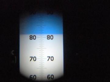 普段、余り見ることのない糖度計の表示 (81,3%)