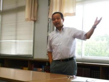 熱く語られる山口町長(本校図書室)