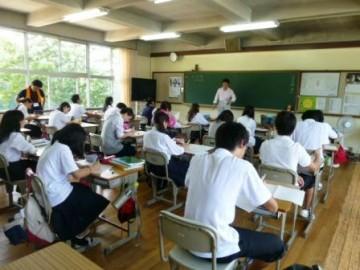 東中学校での特別授業(数学 松本先生)