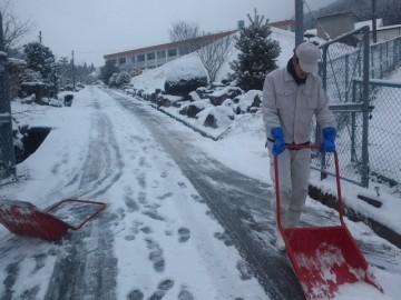 農場メインロードの雪かき作業