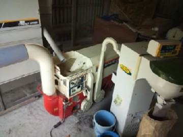 乾燥機・籾摺り機・米選機の連携作業