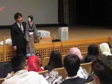 Director of Joruri theater explaining Ningyo-Joruri – a traditional Japanese puppet show